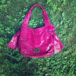 PINK NINE WEST crocodile patterned handbag w/ bows